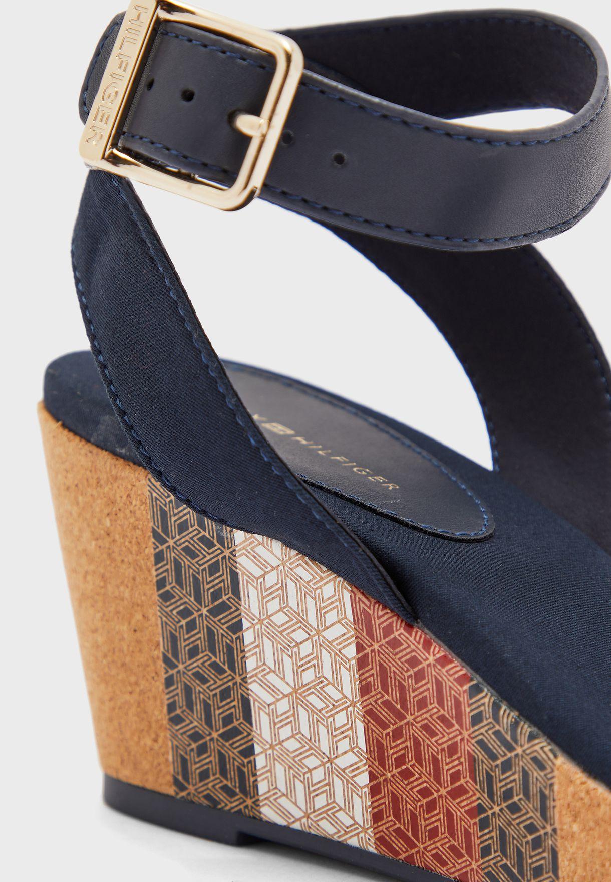 Monogram Cork Mid Heel Wedge Sandal