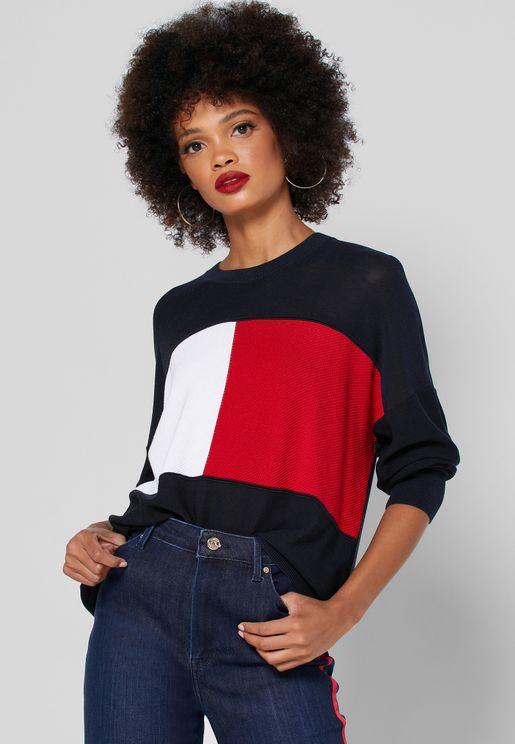Colorblock Logo Sweater