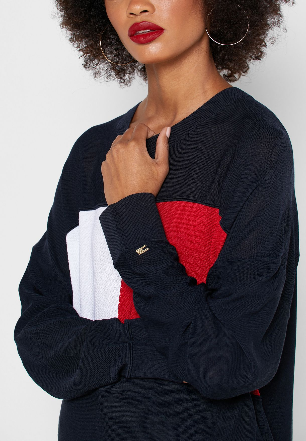 Colorblock Logo Sweater