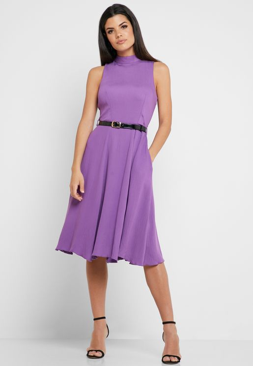 Belted High Neck Dress
