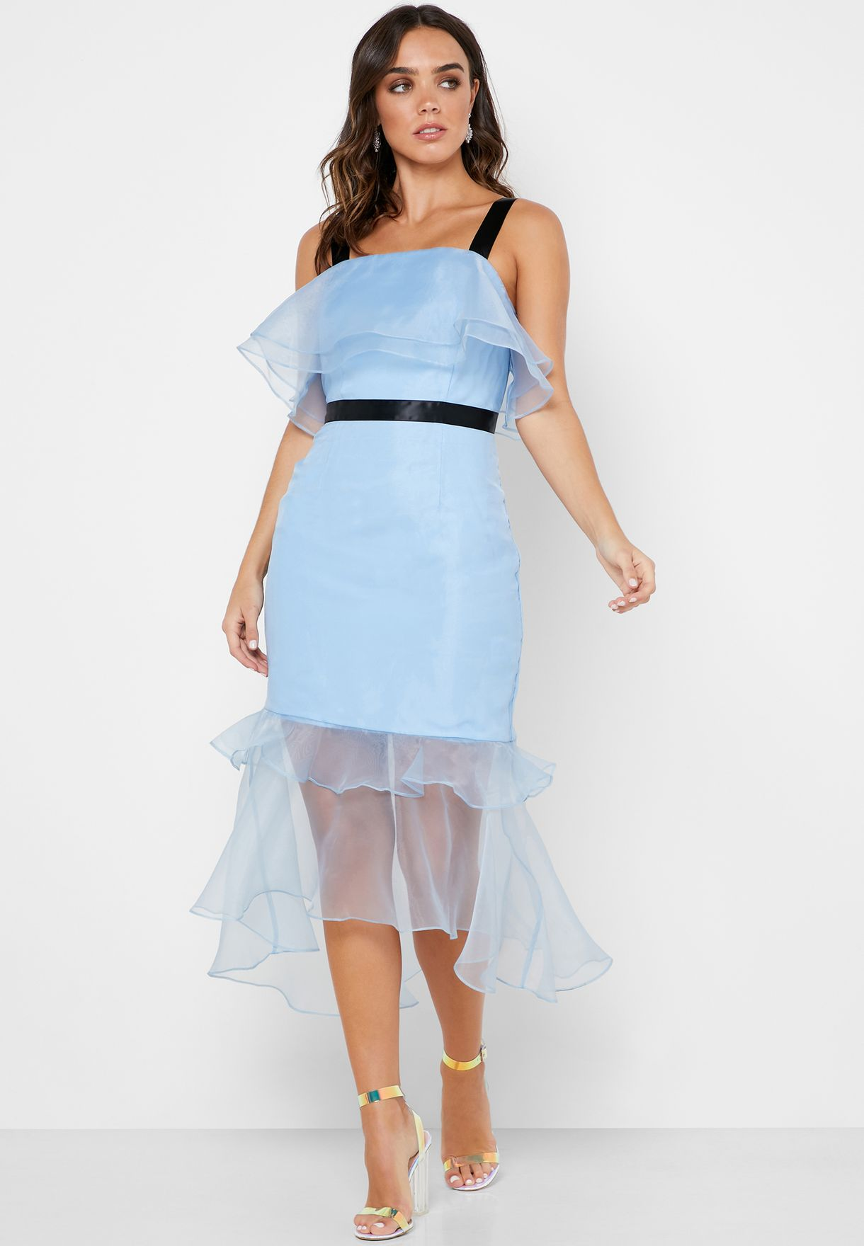 Ruffle High Low Sheer Dress