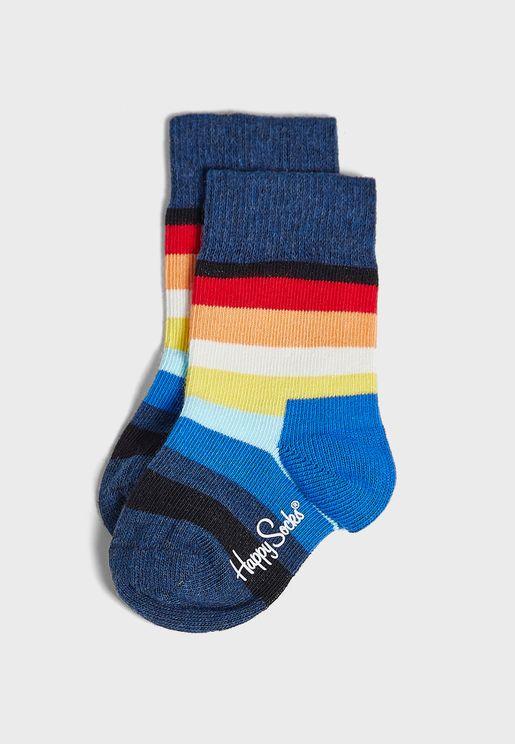 Kids Striped Crew Socks