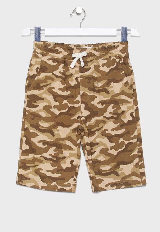 Kids Camo Print Shorts