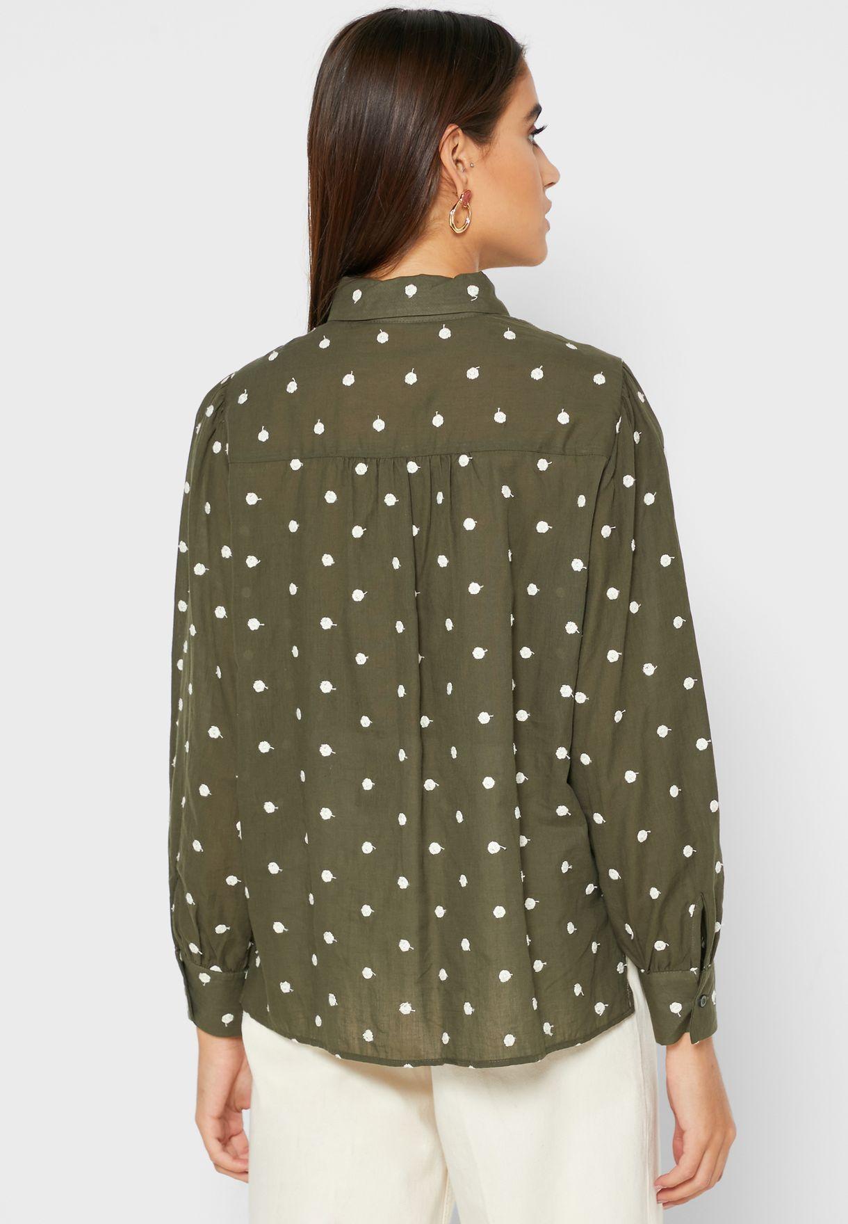 Puff Sleeve Dot Print Shirt