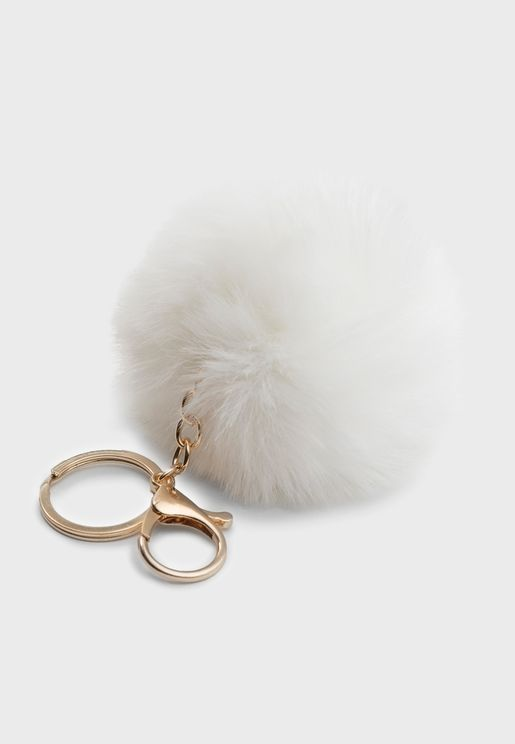 White Pom Pom Key Ring