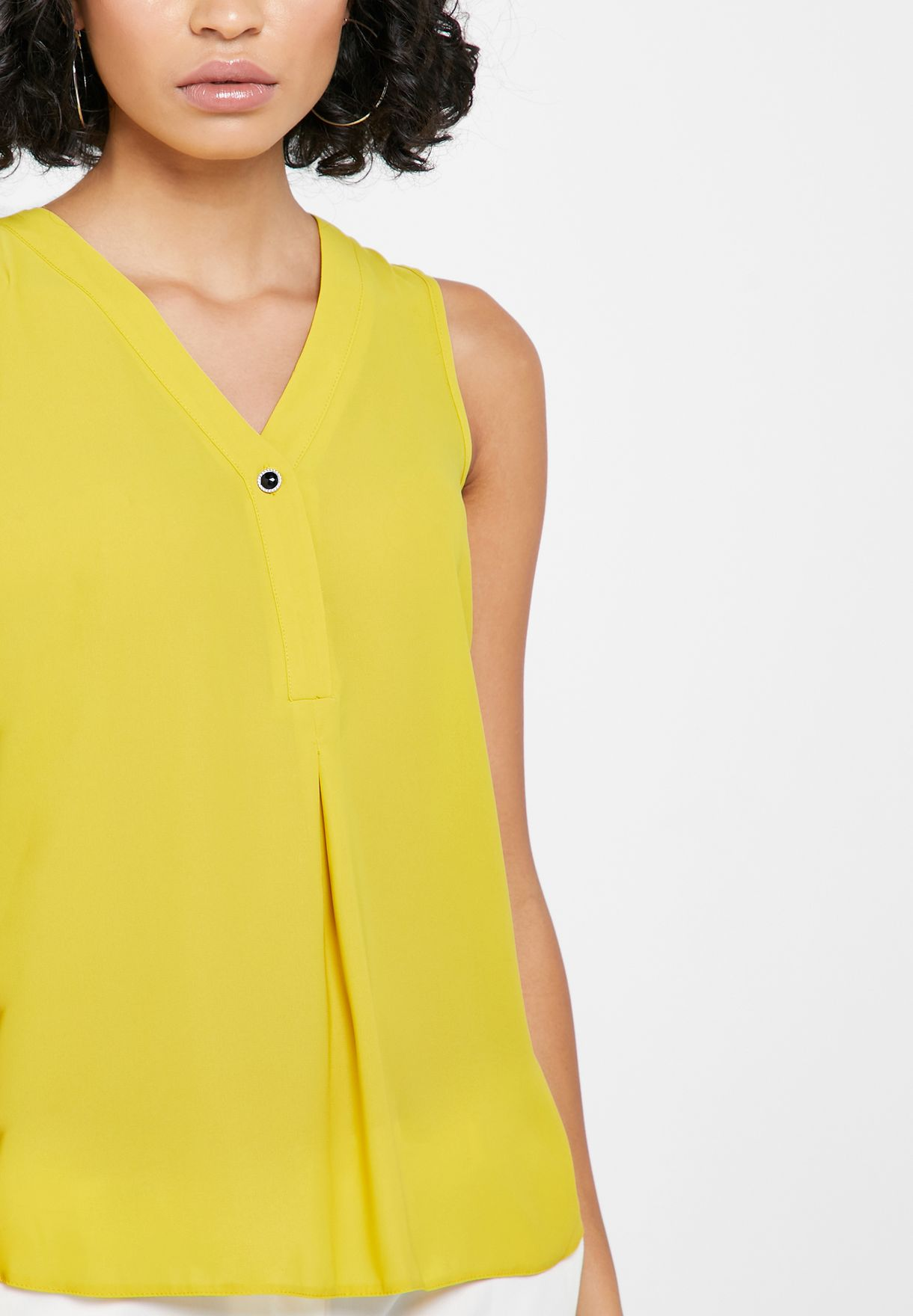 Buy Dorothy Perkins Yellow Button Detail Sleeveless Top For Women, Uae 18832at71zqp