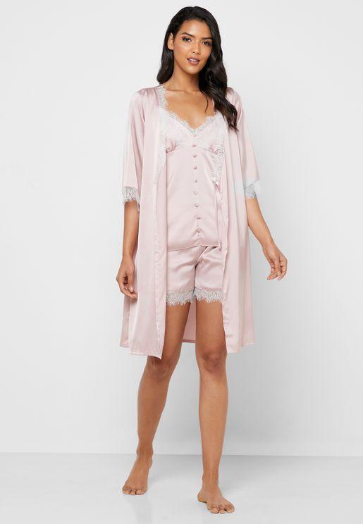 4 In 1 Nightdress Robe Pyjama Shorts Set