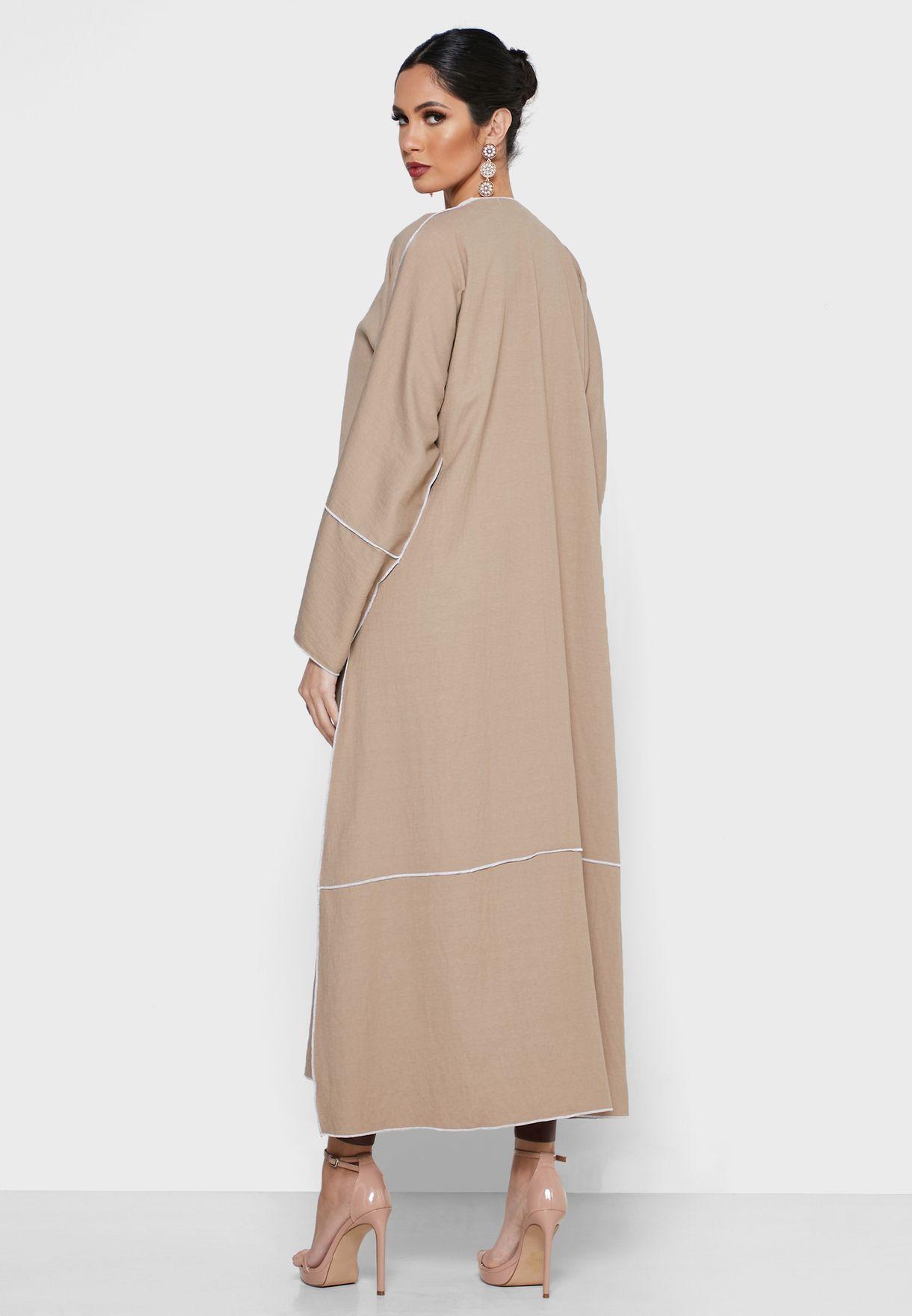 Contrast Stitched Abaya