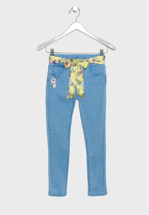 Kids Belt Detail Jeans