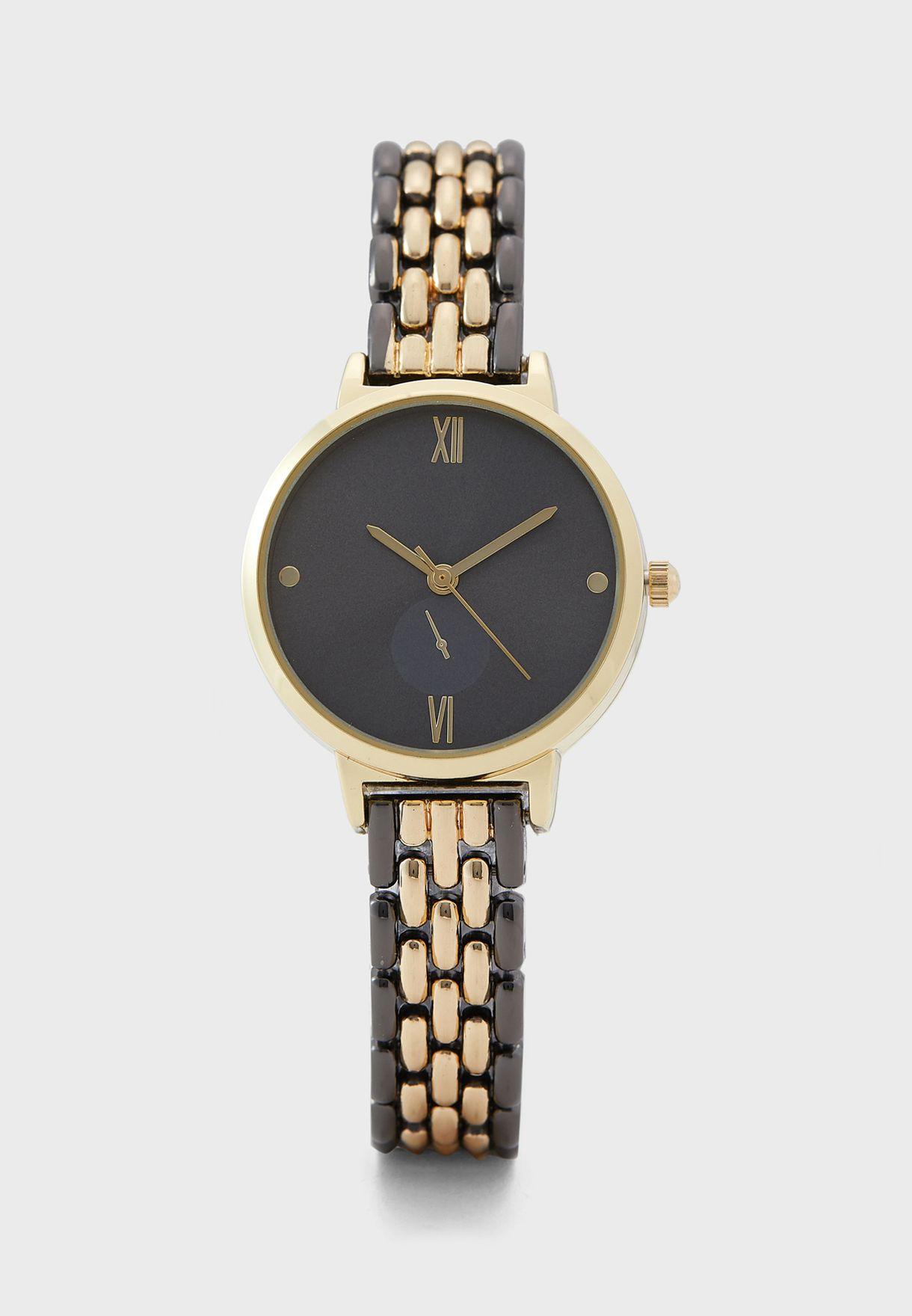Two Tone 5 Link Bracelet Watch