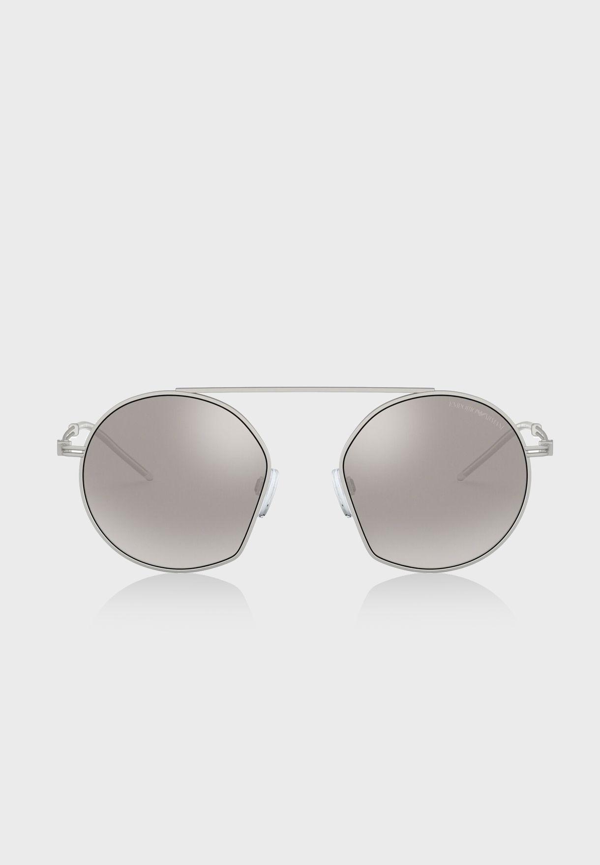 0EA2078 Top Bar Round Sunglasses