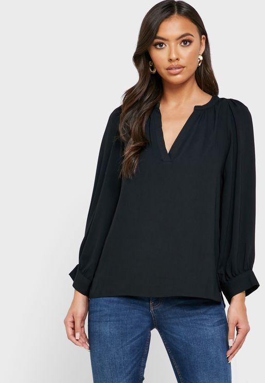 Cuff Sleeve Placket Top