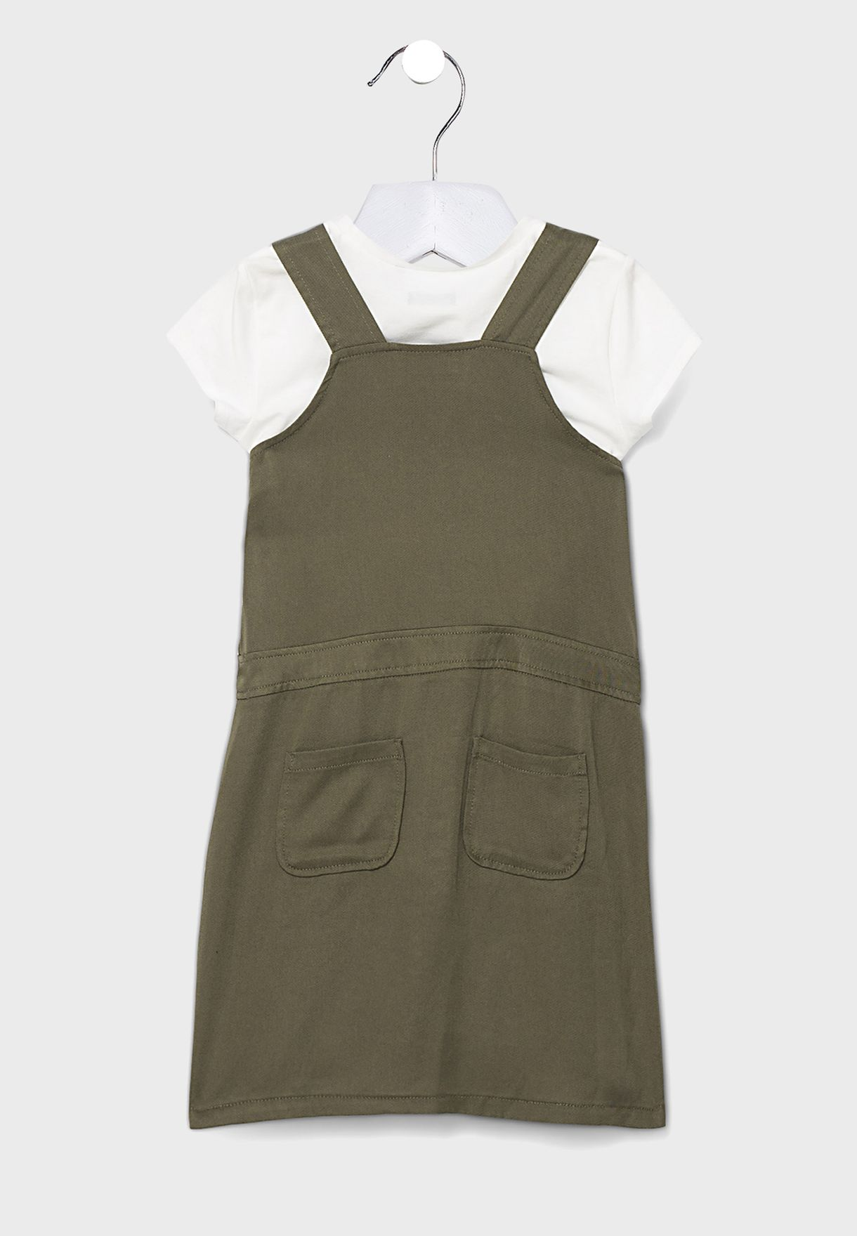 Kids Button Detail Dungaree + T-Shirt Set