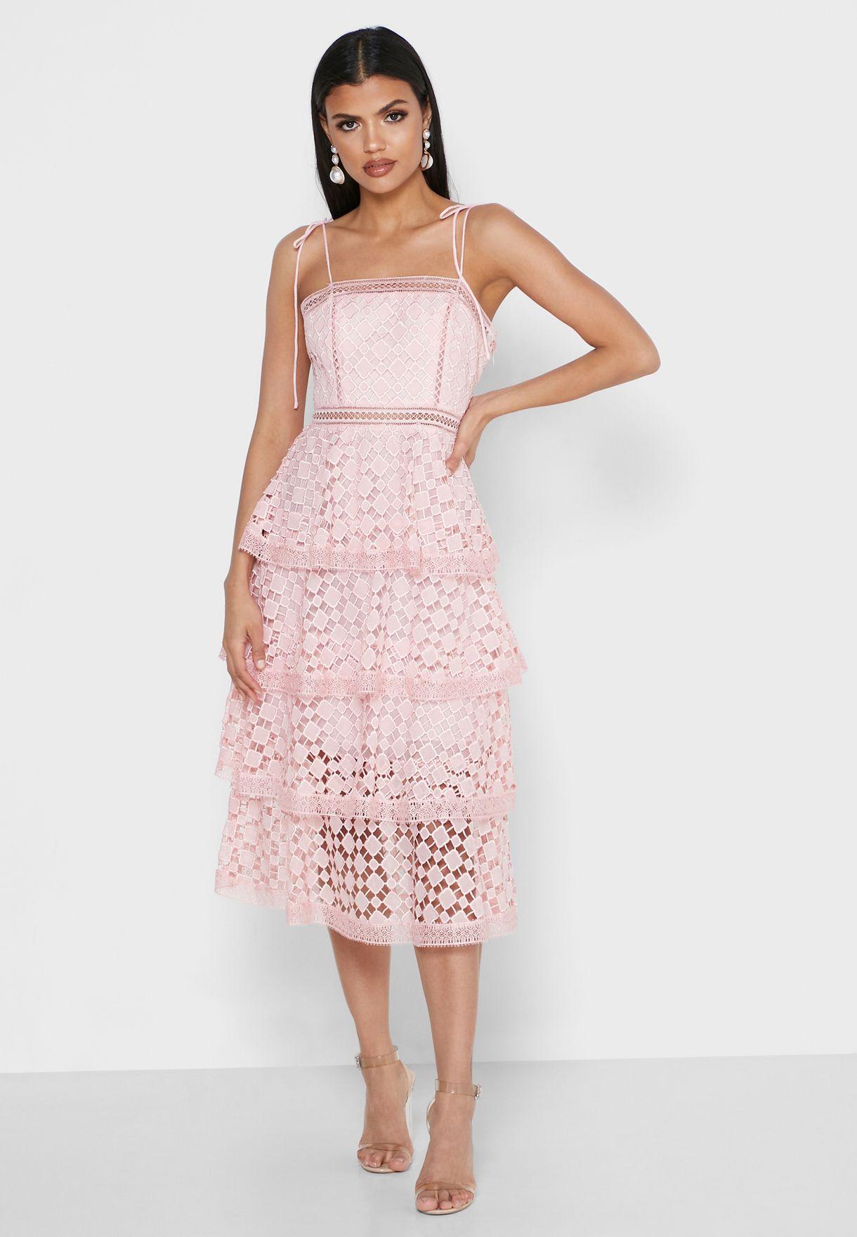 Laser Cut Tie Shoulder Dress