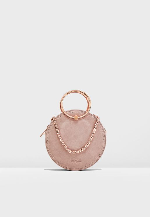 Melliaa Suede Stab Stitch Circle Crossbody