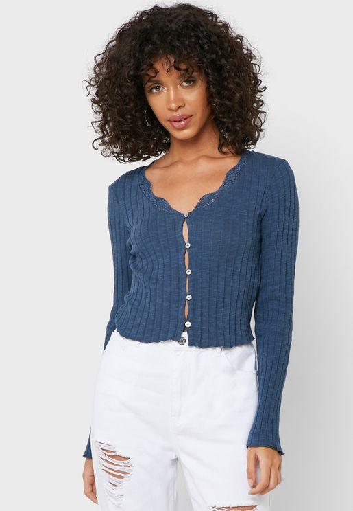 Button Down Lace Trim Cardigan