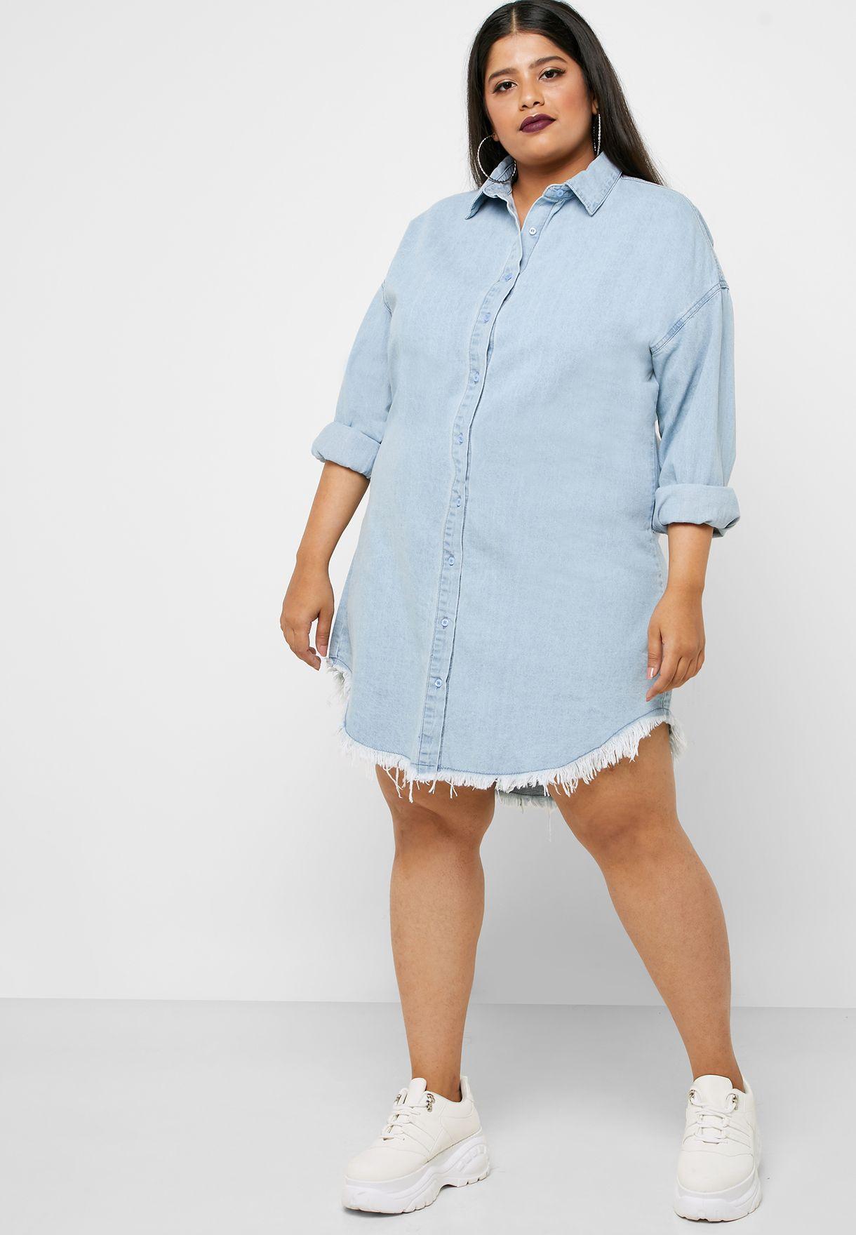 Oversized Raw Hem Denim Shirt Dress
