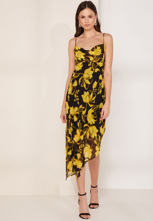 On And Off Asymmetric Printed Dress