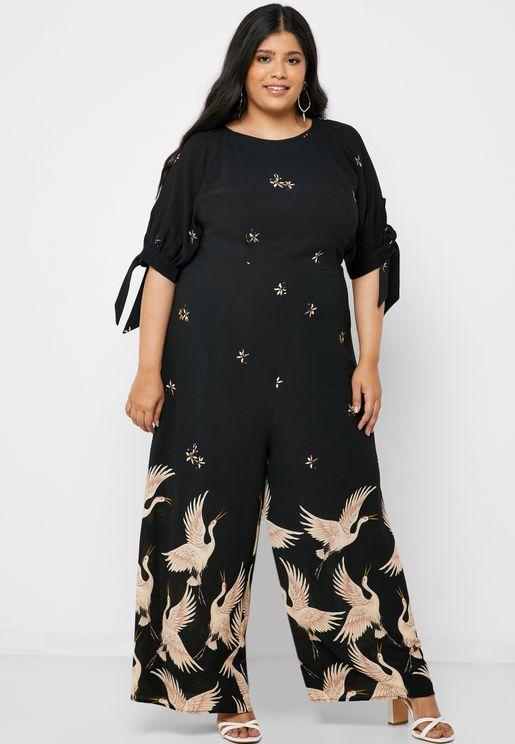 Wide Leg Printed Jumpsuit