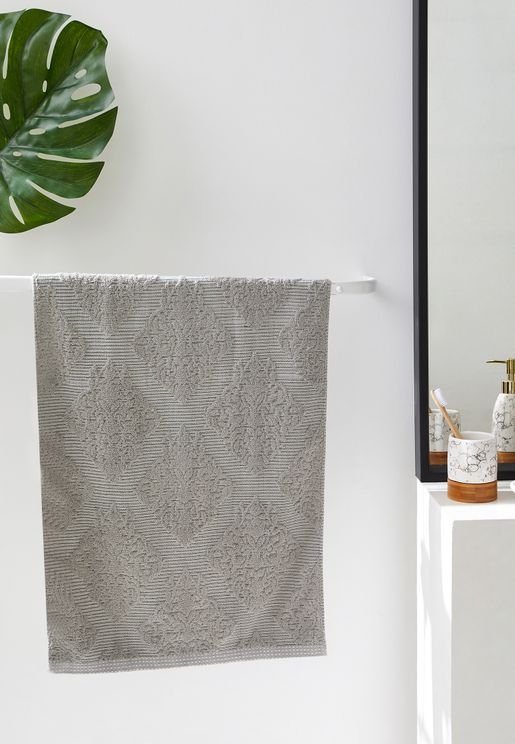 Grey Patterned Hand Towel