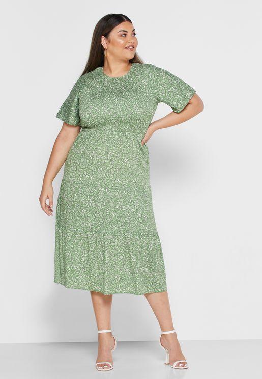 فستان مطبع باكمام قصيرة