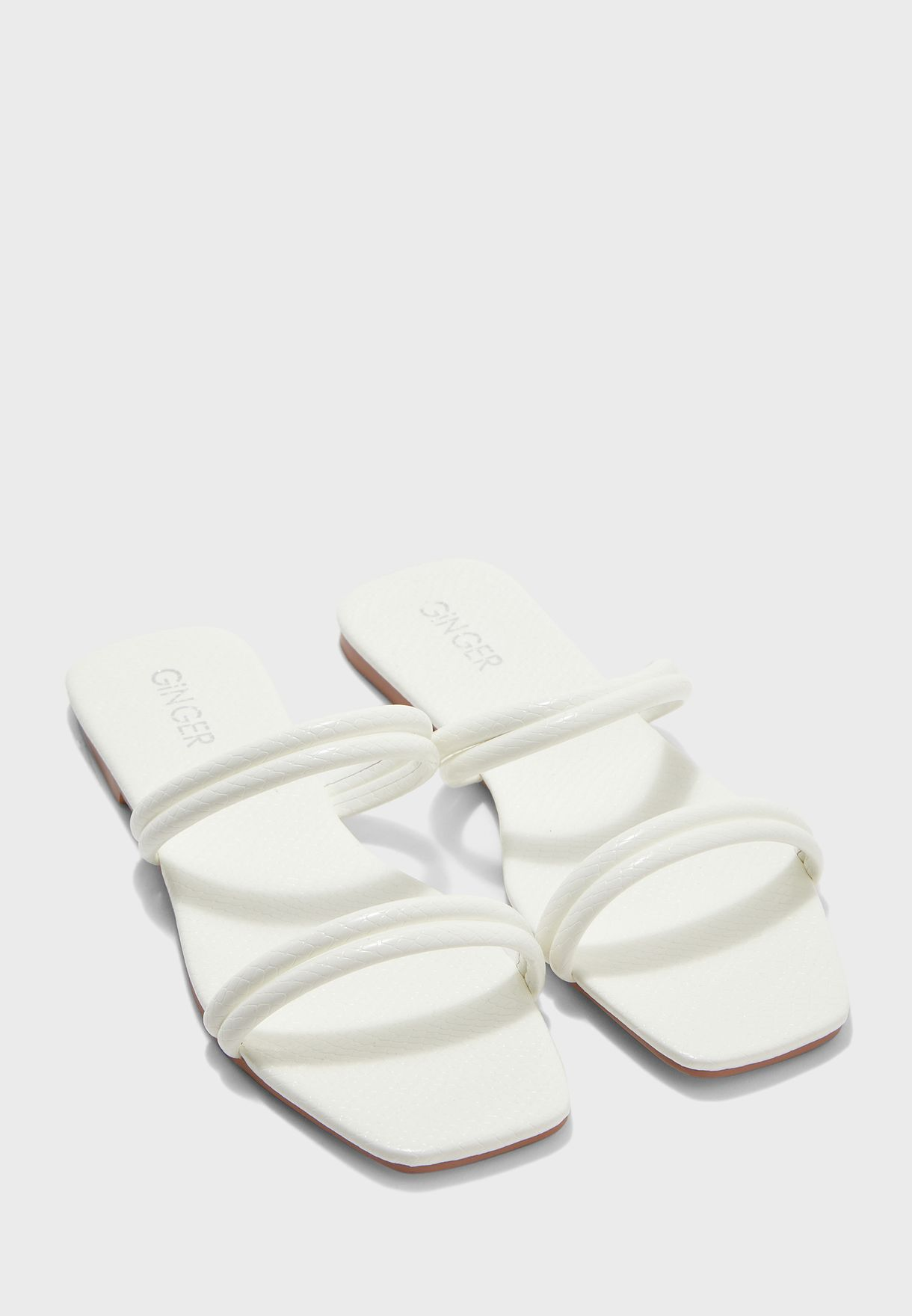Ginger white Square Toe Flat Sandals