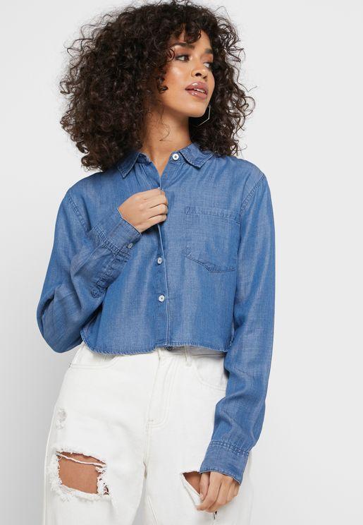 Cropped Denim Shirt