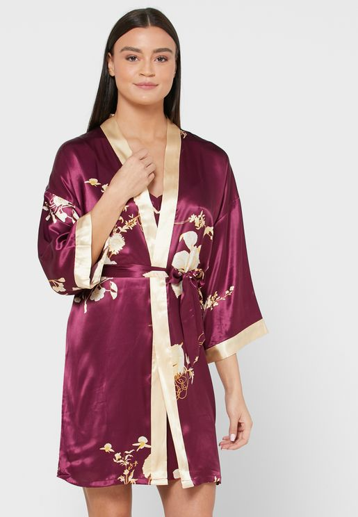 2 in 1 Floral Print Nightdress Robe