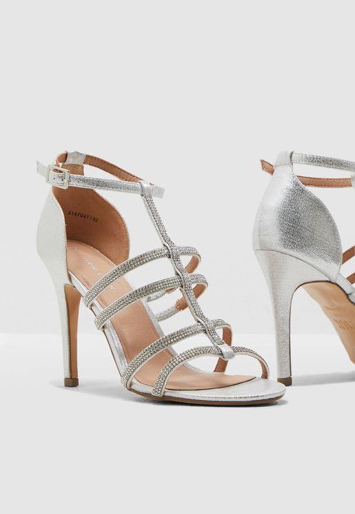 Samria Ankle Strap Sandal - Silver