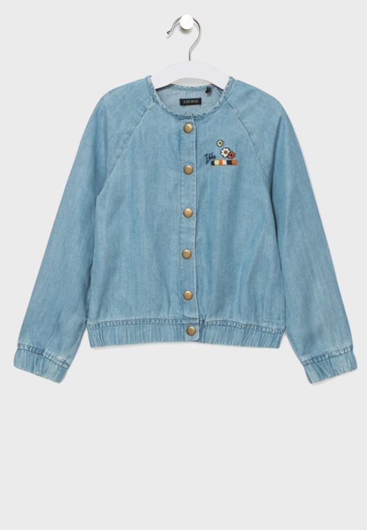 Kids Round Collar Bomber Jacket