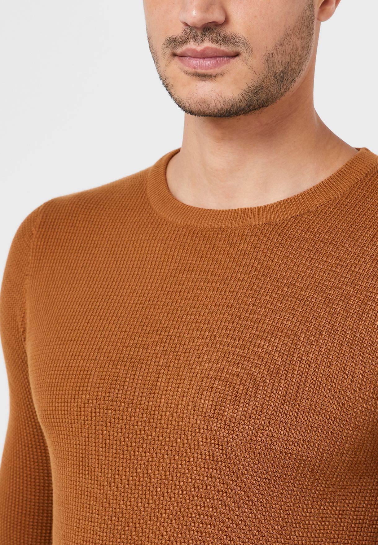 Waffle Muscle Fit Knit Sweater