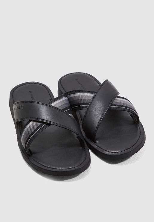 59fd338b79d Criss Cross Leather Slides. PREMIUM. Tommy Hilfiger