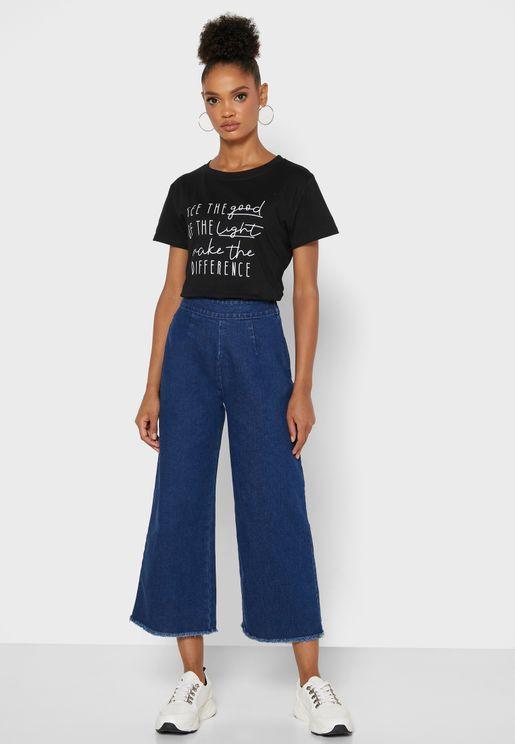 جينز واسع قصير
