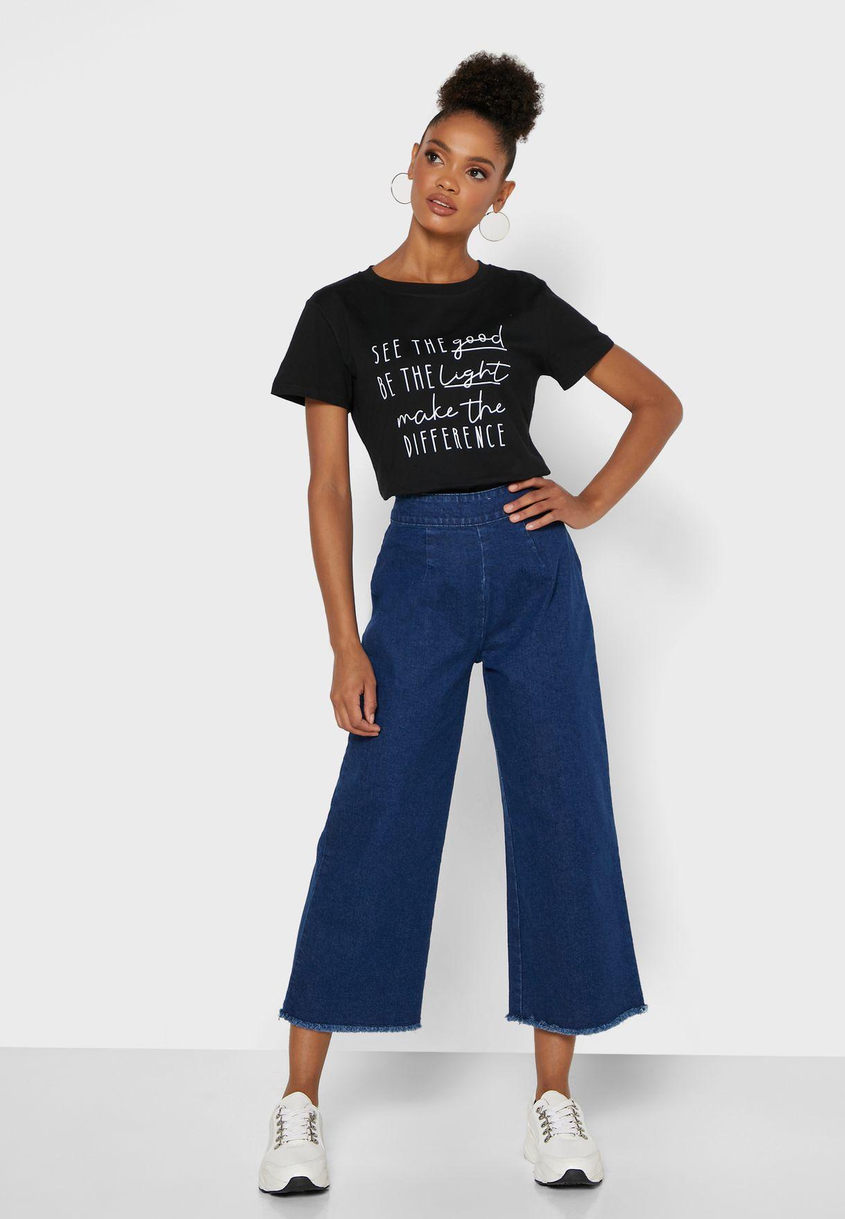 Wide Leg Culottes Jeans