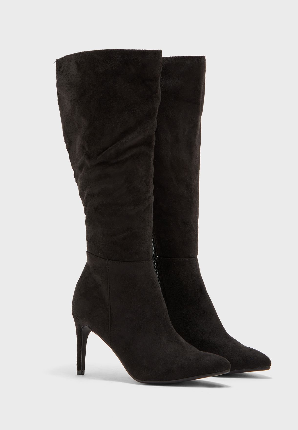 Stretch Detail Mid Heel Knee Boot