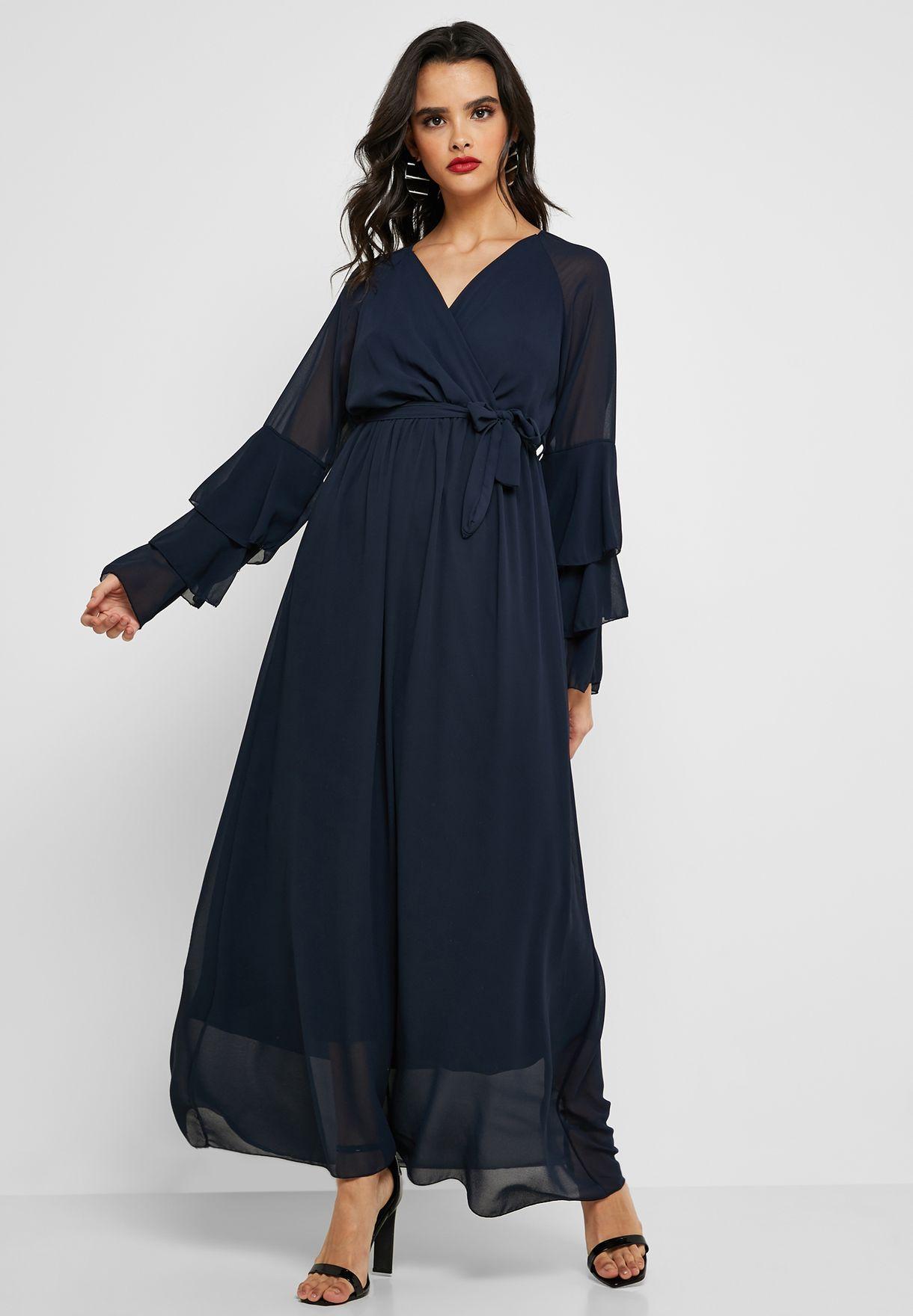 Layered Sleeves Wrap Dress