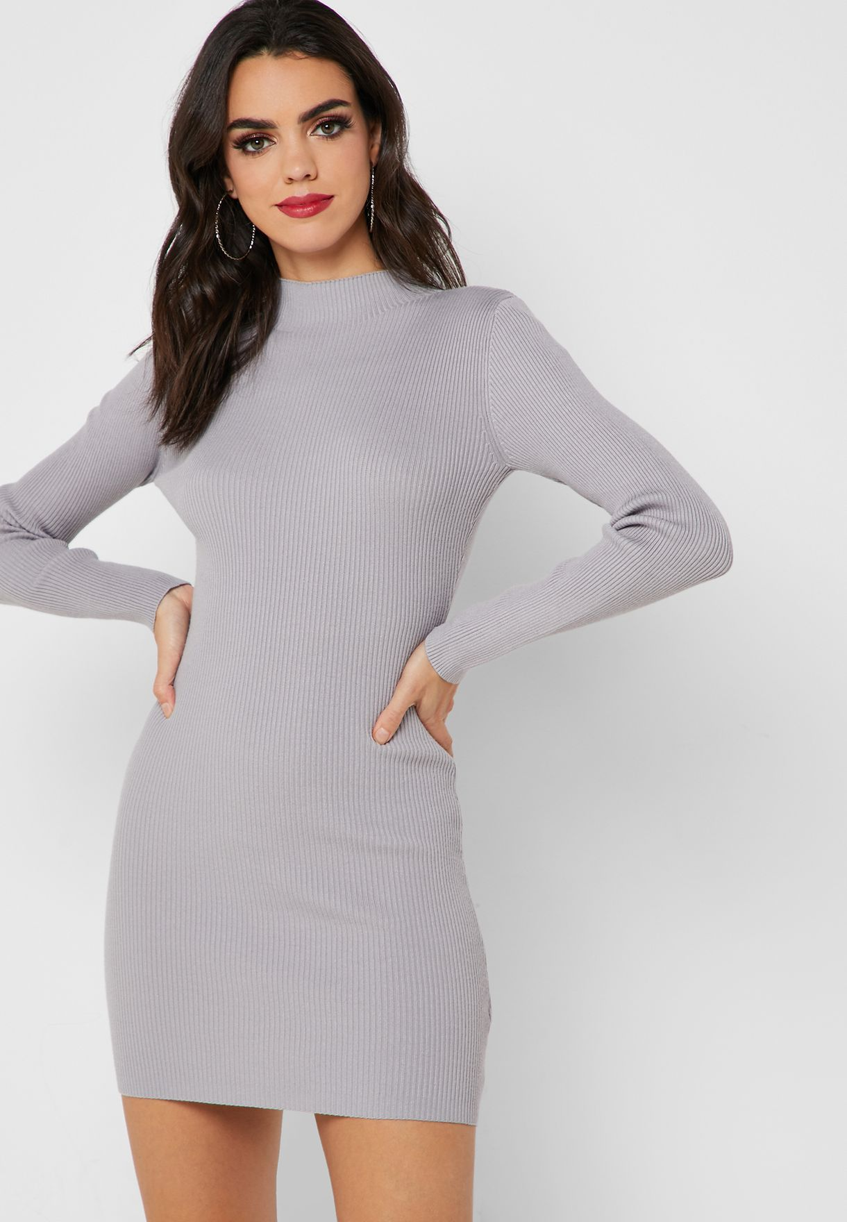 596c9901f5bd6 Shop Missguided grey High Neck Bodycon Dress K2228807 for Women in ...