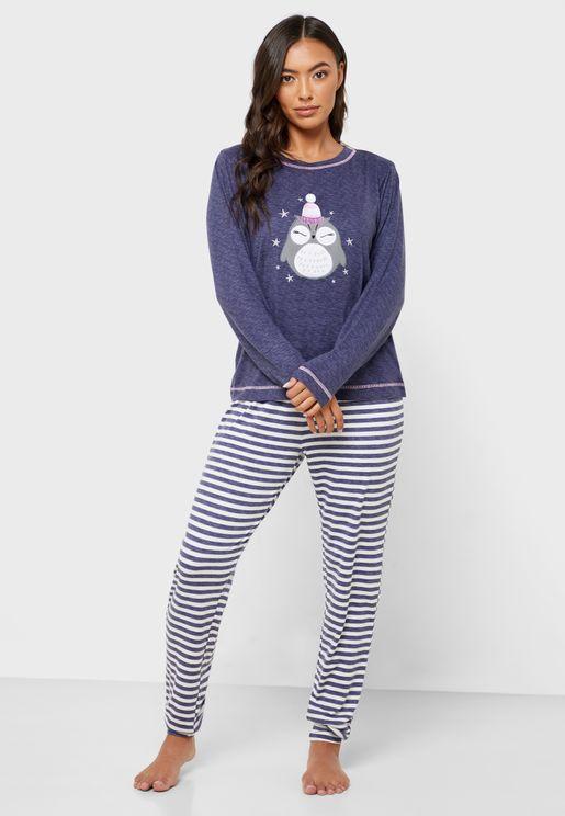 Owl Print T-Shirt & Striped Pyjama Set