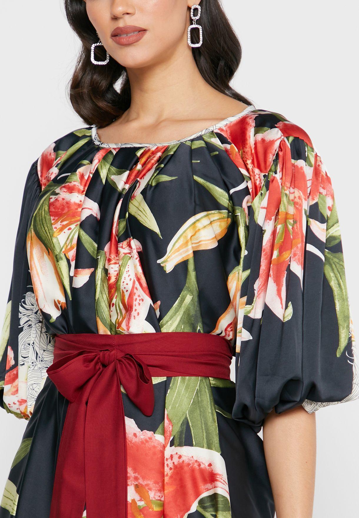 Bow Detail Balloon Sleeve Printed Dress