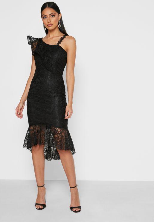 One Shoulder Ruffle Detail Lace Dress