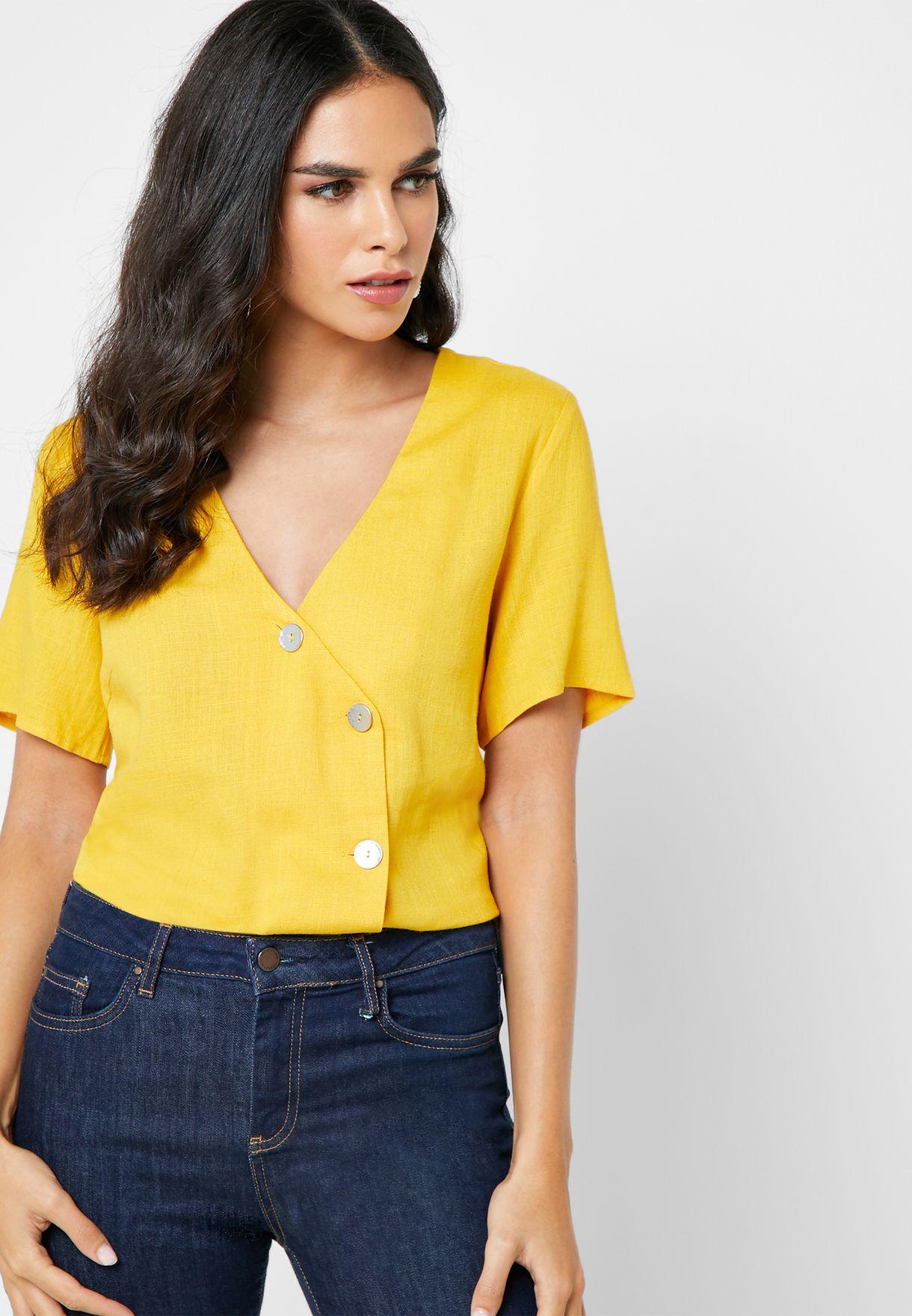 V-Neck Button Down Shirt
