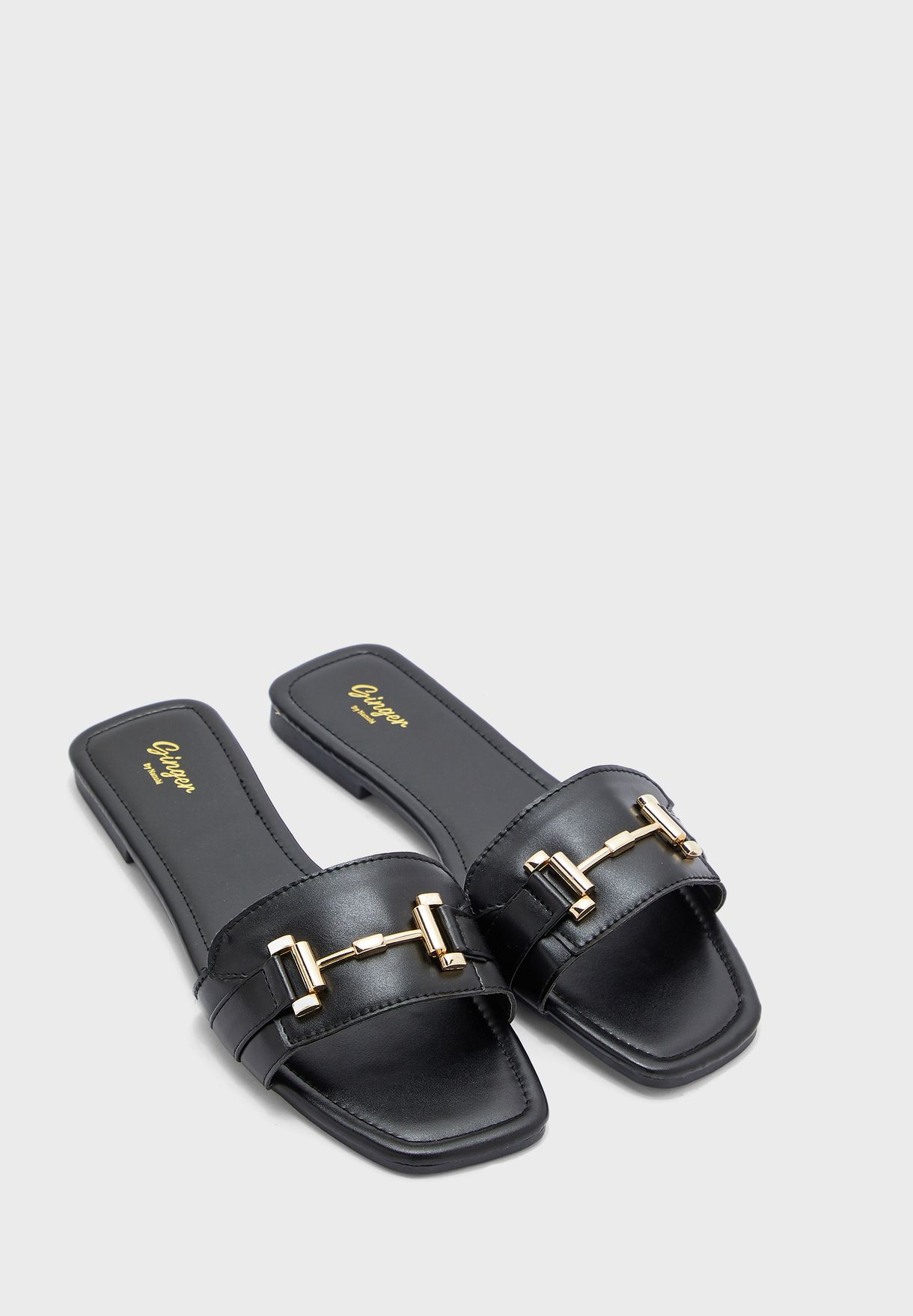 Snake Effect Flat Sandal With Tbar