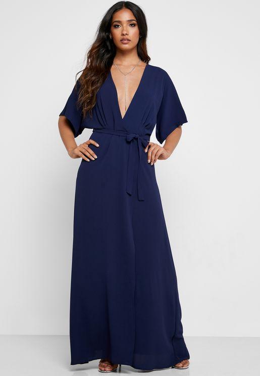 Kimono Sleeve Wrap Maxi Dress