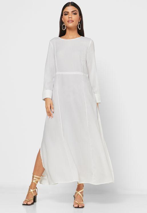 فستان ميدي بأكمام طويلة