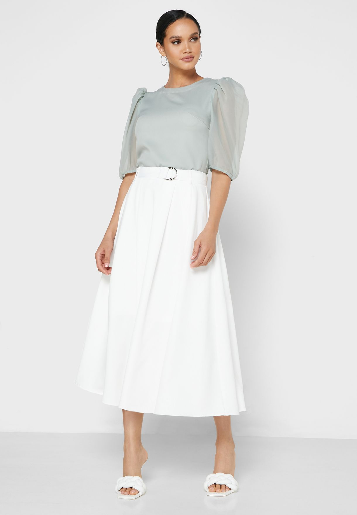 Soft Belted Flare Skirt