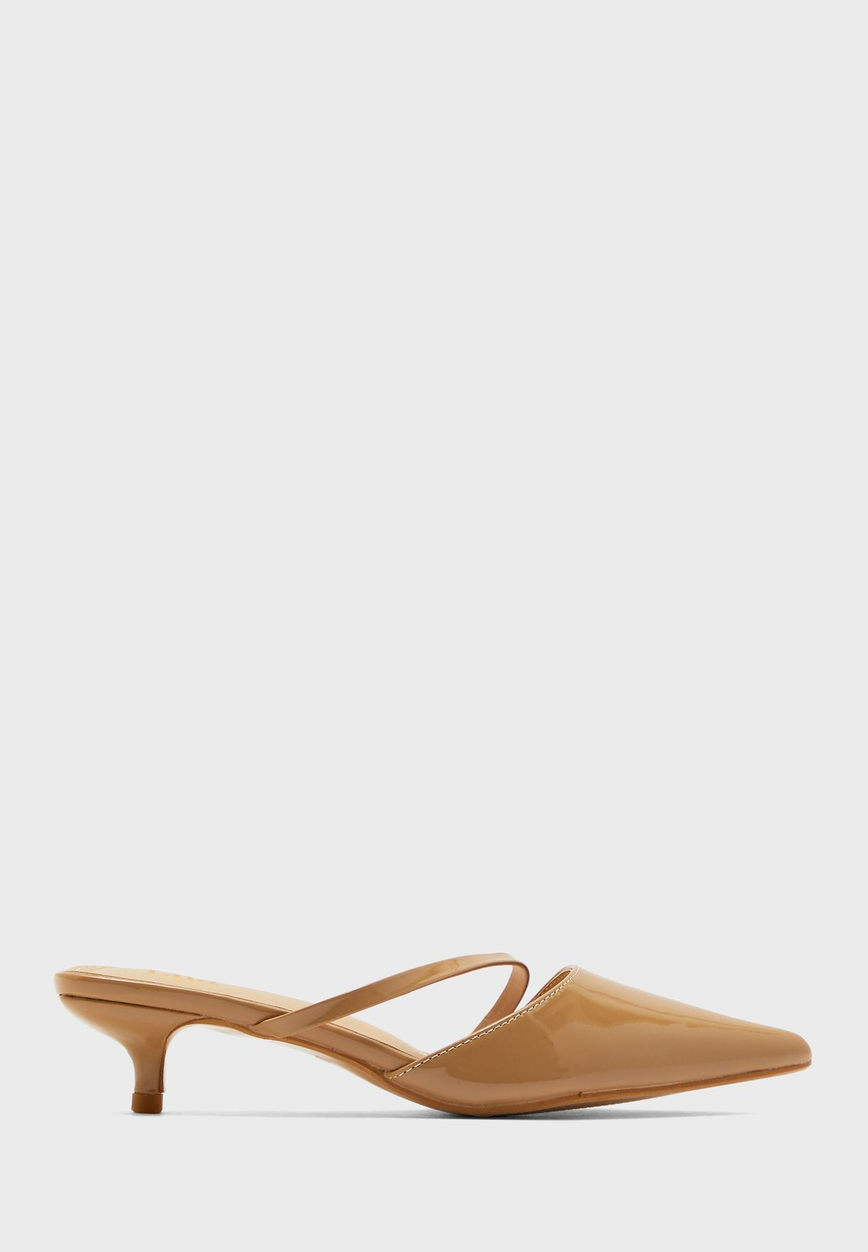 Pointed Stiletto Mule With Asymmetric Strap