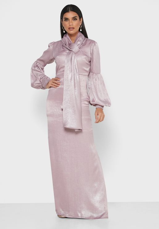 Tie Neck Balloon Sleeve Dress