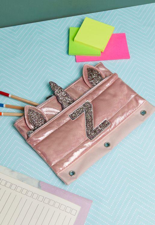 Kids Unicorn Initial Pencil Case