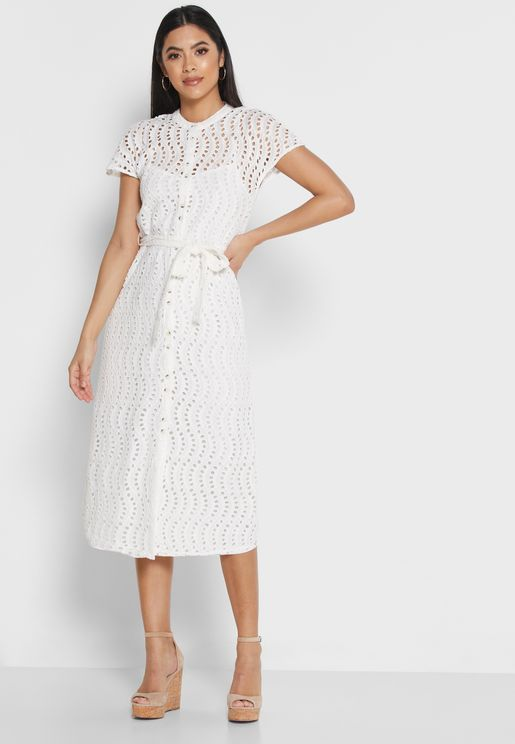 Belted Broderie Dress