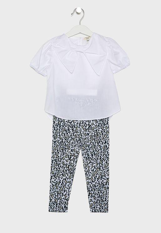 Kids Bryony T-Shirt + Leopard Leggings Set